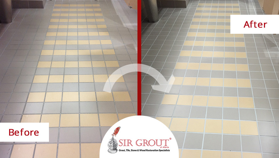 Before and After Picture of an Office Building Bathroom Floor Grout Cleaning Service in Alpharetta, GA