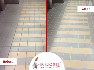 Before and After Picture of an Office Building Bathroom Grout Cleaning Service in Alpharetta, GA