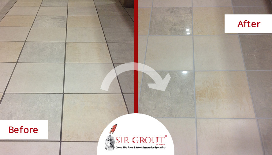 Before and After Picture of an Office Building Grout Cleaning Service in Alpharetta, GA