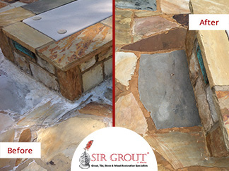 Before and After Picture of a Stone Cleaning Service on Flagstone