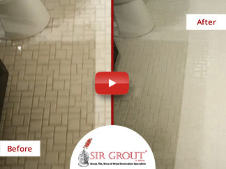 Before & After Picture of a Grout Cleaning and Sealing in Marietta, GA