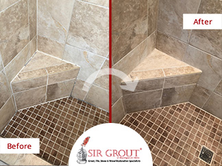 Before and After Picture of a Travertine Shower Caulking Services in Atlanta, Georgia