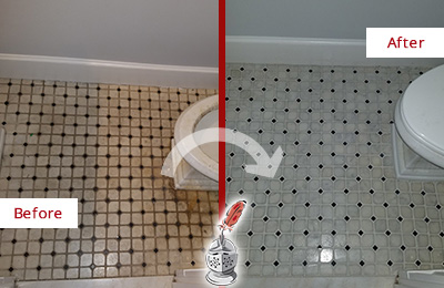 Before and After Picture of a Peachtree City Bathroom Tile and Grout Cleaned to Remove Stains