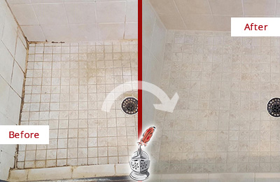 Before and After Picture of a Aragon Shower Caulked to Fix Cracks