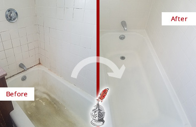 Before and After Picture of a Aragon Bathtub Caulked to Repair Cracks