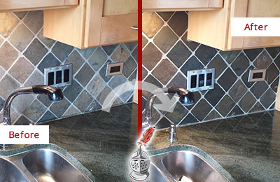Before and After Picture of a Aragon Backsplash Caulked to Fix and Prevent Water Leaks