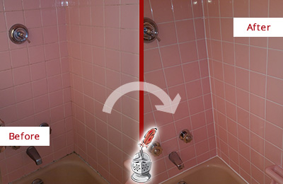 Before and After Picture of a Aragon Bathtub Caulked to Eliminate Mold