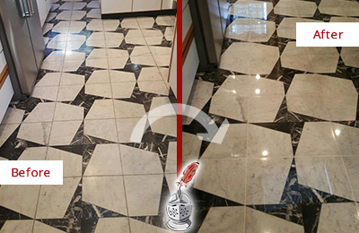 Before and After Picture of a Dull Alpharetta Marble Stone Floor Polished To Recover Its Luster