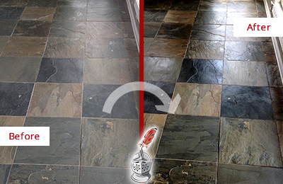 Before and After Picture of a Dull Duluth Slate Floor Sealed to Bring Back Its Colors