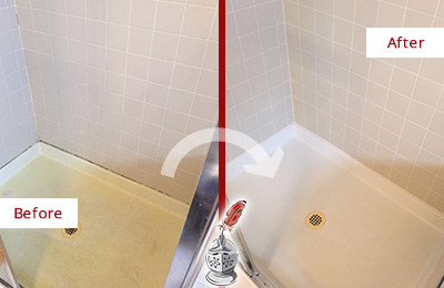 Before and After Picture of a Carrollton Shower Sealed to Remove and Protect Against Mold