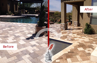 Before and After Picture of a Dull Brooks Travertine Pool Deck Cleaned to Recover Its Original Colors