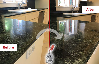 Before and After Picture of a Jenkinsburg Marble Kitchen Countertop Honed to Remove Water Marks