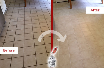 Before and After Picture of a Emerson Kitchen Tile Floor with Recolored Grout