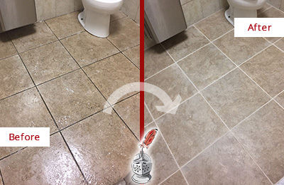 Before and After Picture of a Ball Ground Office Restroom Floor Recolored Grout
