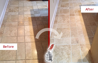 Before and After Picture of a Emerson Travertine Kitchen Floor Recolored Grout