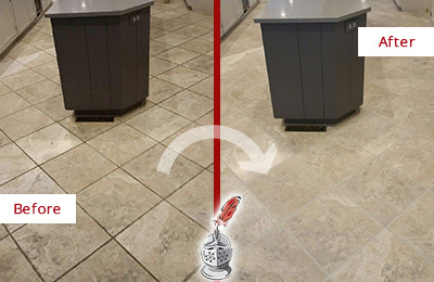 Before and After Picture of a Commerce Kitchen Floor Grout Sealed to Remove Stains