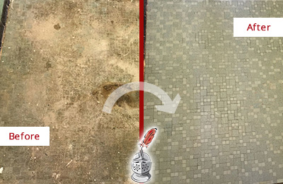 Before and After Picture of a Jasper Mosaic Shower Cleaned to Eliminate Embedded Dirt