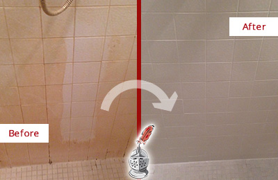 Before and After Picture of a Jasper Porcelaine Shower Cleaned to Remove Soap Scum