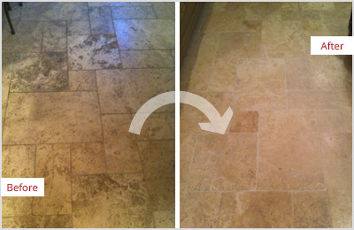 Sir Grout Atlanta Tan Marble Clean and ClearSeal