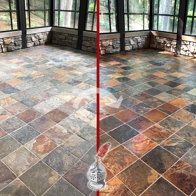 Slate Floor Before And After A MicroGuard High Durability Coating
