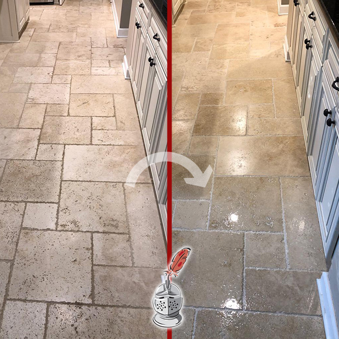 Travertine Floor Sealing and MicroGuard High Durability Coating