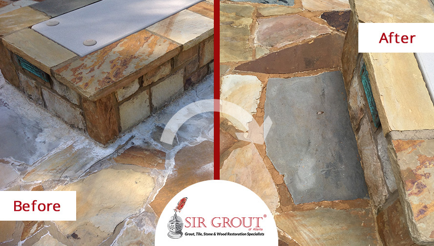 Before and After Picture of a Stone Cleaning Service on Flagstone in Milton, Georgia