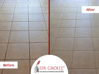Before and After Picture of a Grout Recoloring Service in Marietta