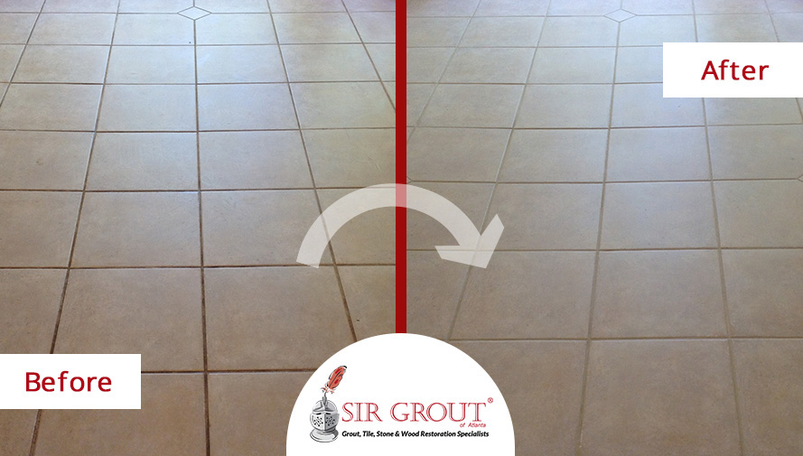 Before and After Picture of a Grout Recoloring Service in Marietta, GA