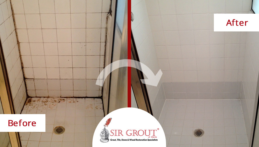 Before and After Picture of a Shower Restoration Through a Grout Sealing Service