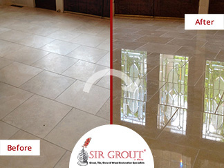 Before and After Picture of a Marble Stone Polishing Service in Dunwoody, GA