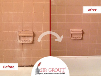 Before and After Picture of a Tile and Grout Cleaning Service in Marietta, GA