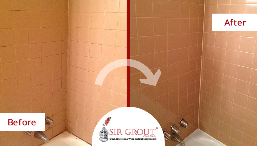 Before and After Picture of a Tub Tile and Grout Cleaning Service in Marietta, Georgia