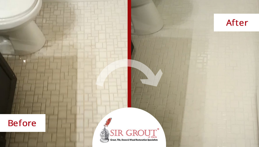 Before & After Picture of a Grout Cleaning in Marietta, GA