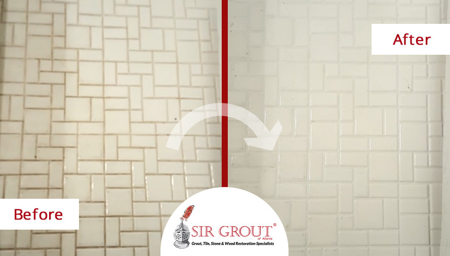 Before and After Picture of a Grout Cleaning Service in Marietta, Georgia