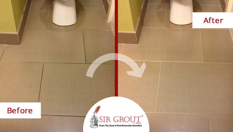 Before and After Picture of a Hotel Restrooms Tile & Grout Cleaning Service in Cummin, GA