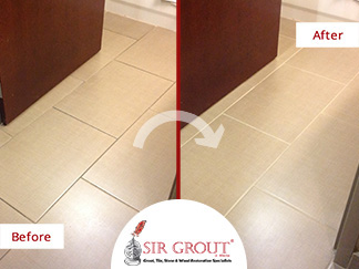 Before and After Picture of a Tile and Grout Cleaning Service in Cummins, GA
