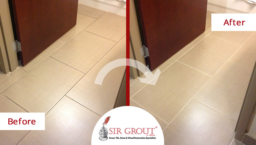Before and After Picture of a Tile and Grout Cleaning Service in Cumming, GA