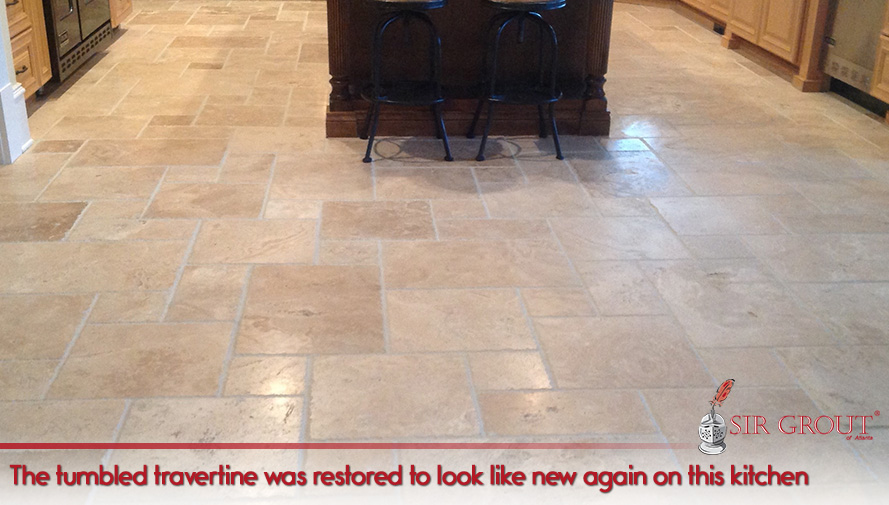 Before and After Picture of a Stone Cleaning Service in Dunwoody, GA