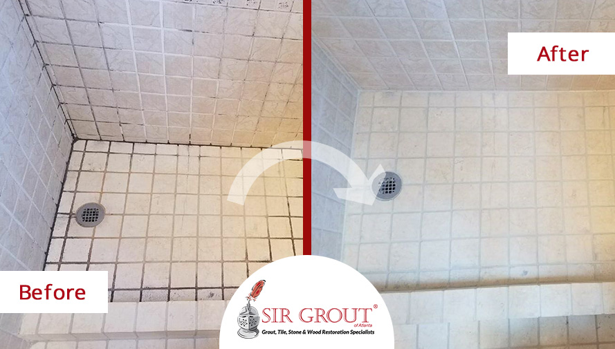Before and After Picture of a Tile and Grout Cleaners in Cumming, GA