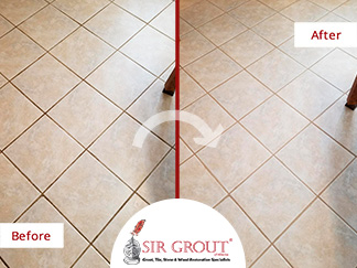 Before and After Picture of a Tile Floor Grout Cleaning in Atlanta, Georgia