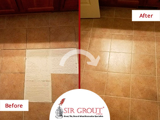 Before and After Picture of a Floor Tile Sealing Restoration in Alpharetta, Georgia