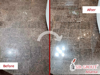Before and After Picture of a Kitchen Marble Floor Stone Polishing in Marietta, Georgia