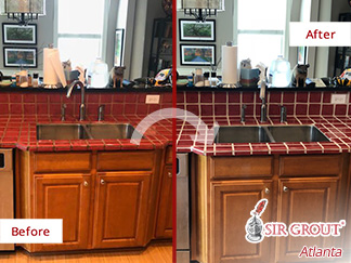 Before and After Picture of a Kitchen Countertop After Our Tile and Grout Cleaners Service in Atlanta, GA