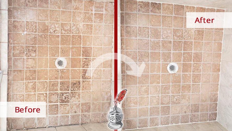 Before and After Picture of a Shower Floor Stone Cleaning Service in Dunwoody, GA