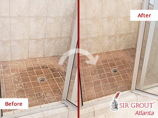 Before and After Picture of a Shower Stone Cleaning Service in Dunwoody, GA