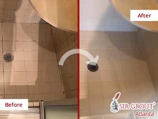 Before and After of a Shower After Our Tile and Grout Cleaners Services in Suwanee, GA
