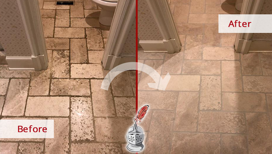 Before and after Picture of a Bathroom's Travertine Floor in Atlanta, GA after a Stone Cleaning Service