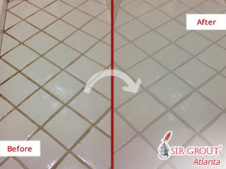 Before and after Picture of a Grout Sealing Process in Cumming, GA