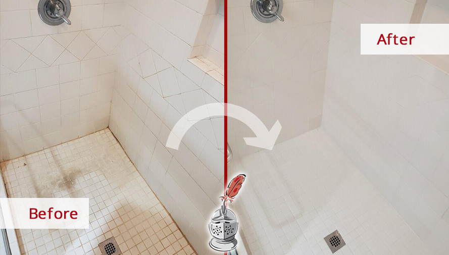 Before and After Picture of a Shower Tile Cleaning Service in Atlanta, Georgia