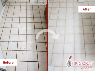 Before and after Picture of a Tile and Grout Cleaning Job in Norcross, GA